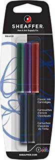 Sheaffer Classic Fountain Pen Ink Cartridges, 5 Assorted Color Cartridges: Black, Blue, Red, Green, Purple (96400)