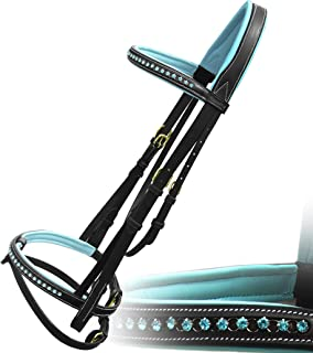 Exion Blue Round Ring Diamond Leather Bridle with PP Rubber Grip Reins and Brass Buckles | Equestrian Show Jumping Padded Bridle Set | English Horse Riding Premium Tack | Black | Pony