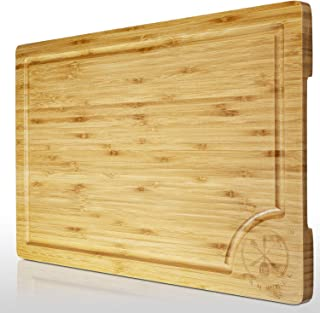 "18""x12"" Extra large Bamboo Cutting Board, Serving Vegetables Meat Kitchen Chopping Butcher Block with Deep Juice Grooves"
