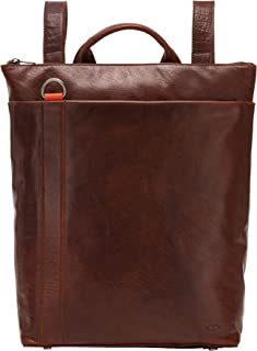 Nuvola Pelle Laptop Backpack Shoulder Bag for Men in Leather Elegant with Computer Compartment and Zip Brown