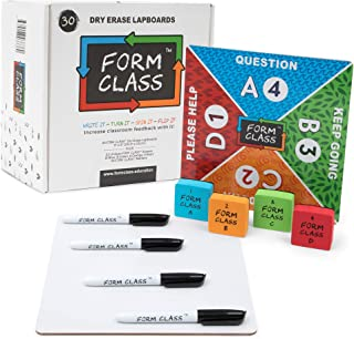 FORM CLASS Mini Dry Erase Boards, Set of 30, Double Sided with Multiple Colors, for Students, Classrooms - Durable, Personal Lapboards with Erasers for Kids - Premium Classroom Supplies for Teachers