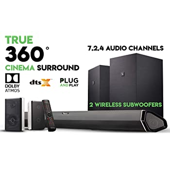 "Nakamichi Shockwafe Elite 7.2.4 Channel 800W Dolby Atmos Soundbar with Dual 8"" Subwoofers (Wireless) & 2 Rear Surround Speakers. Enjoy Plug and Play True 360° Premium Cinema Sound & Room-Shaking Bass"