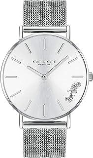 ساعة يد بمينا فضي وابيض وسوار من الستانلس ستيل للنساء من كوتش - 14503341