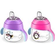 Philips Avent Premium Spout Penguin Cup 7oz - Double, Pink/Purple SCF751/29