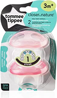 Tommee Tippee Pink Closer To Nature Stage 1 Easy Reach Teethers, TT43645010