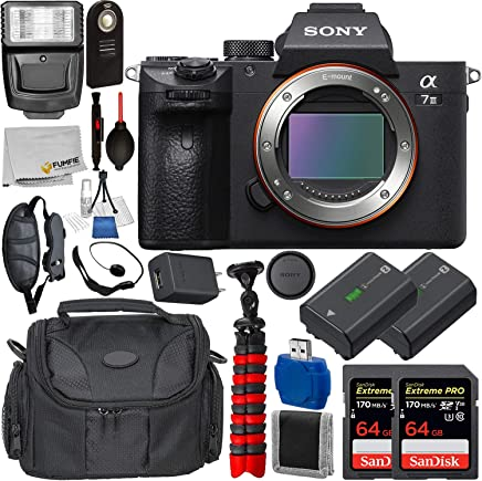 $1949 » Sony Alpha a7 III Mirrorless Digital Camera (Body Only) with Deluxe Accessory Bundle - Includes: 2X SanDisk Extreme PRO 64GB Memory Card, Replacement Battery for Sony NP-FZ100, Much More