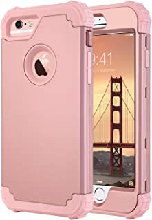 ULAK iPhone 6s Case, Heavy Duty Protection Phone Case for iPhone 6, Hybrid Soft Silicone & Hard PC Rugged Bumper Shockproof Anti Slip Full-Body Protective Cover for iPhone 6/6s 4.7 inch, Rose Gold