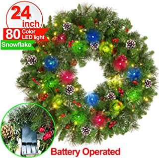 【Battery Operated】24 Inch Christmas Wreath 80 Colorful Lights 220 Pine Branches Christmas Wreaths for Front dDoor with Snow Red Berries Pine Cones Indoor Outdoor Xmas Door Stairs Fireplace Decor