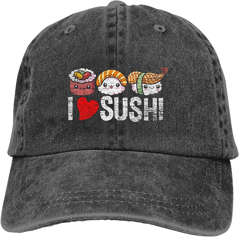 I Love Sushi Hat Adjustable Baseball Cap Unisex Washable Cotton Trucker Cap Dad Hat Black