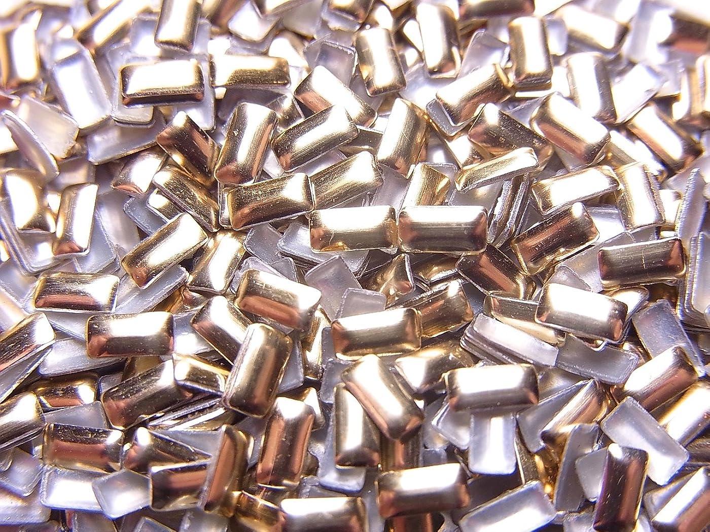 大洪水硬さペリスコープ【jewel】レクタングル型(長方形)メタルスタッズ 4mm ゴールド 100粒入り
