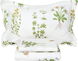 FADFAY Shabby Green Floral Sheet Set 100% Cotton Bed Sheet Set Green White Natural Hypoallergenic Bedding Set,4pcs-Queen