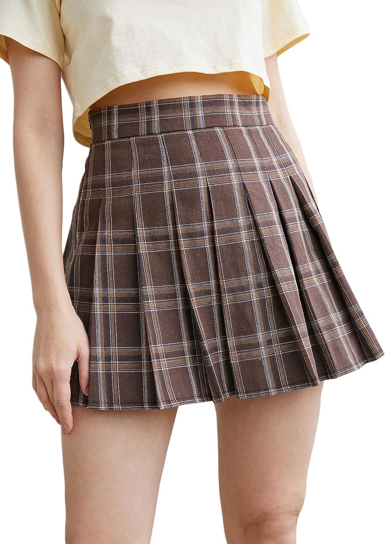 WDIRARA Women's Plaid Pleated High Waist Casual Tartan Skater Uniform Mini Skirt