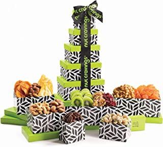 Gourmet Tower Gift Basket, Dried Fruit & Nut Tray (12 Variety) - Edible Care Package Set, Birthday Party Food Arrangement Platter - Healthy Snack Box for Families, Women, Men, Adults - Prime Delivery