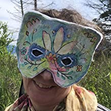 Hand painted paper mache mask - Small adult or Child Halloween Masquerade Mask - Custom Handmade Props