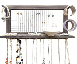SoCal Buttercup Rustic Jewelry Organizer Wall Mount with Bracelet Pegs - Necklace Holder Earring Hanger - Hanging Mounted Wooden Shelf to Display Earrings, Necklaces and Accessories from