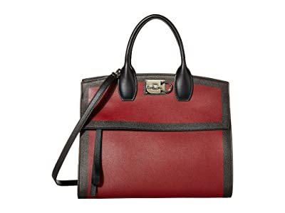 Salvatore Ferragamo The Studio Taping Satchel (Carmine/Nero) Satchel Handbags