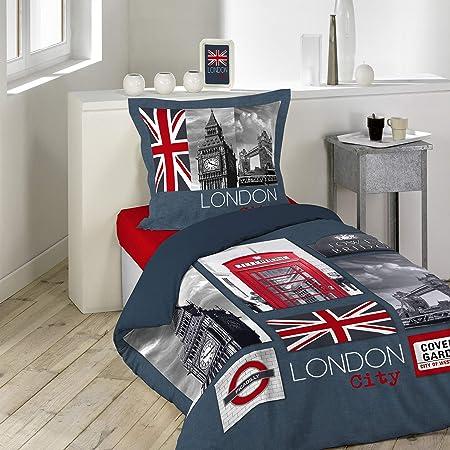 douceur d'intérieur 1641617 CITY LONDON Parure avec Taie d'oreiller Coton Multicolore 140 x 200 cm