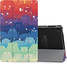 MoKo Case for All-New Amazon Fire 7 Tablet (7th Generation, 2017 Release Only) - Ultra Lightweight Slim Shell Stand Cover with Translucent Frosted Back for Fire 7, Totoro (with Auto Wake/Sleep)