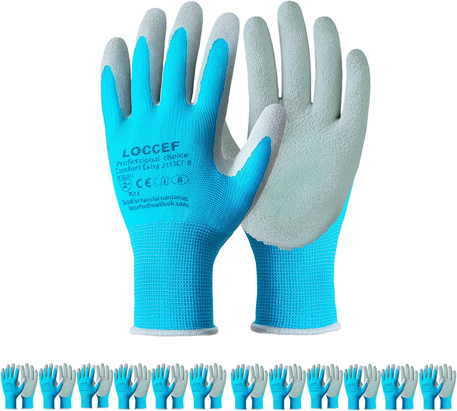 LOCCEF Gardening Gloves,6 or 12 Pairs Breathable Rubber Coated Garden Gloves,Construction,Home Improvement Work Gloves,M Size