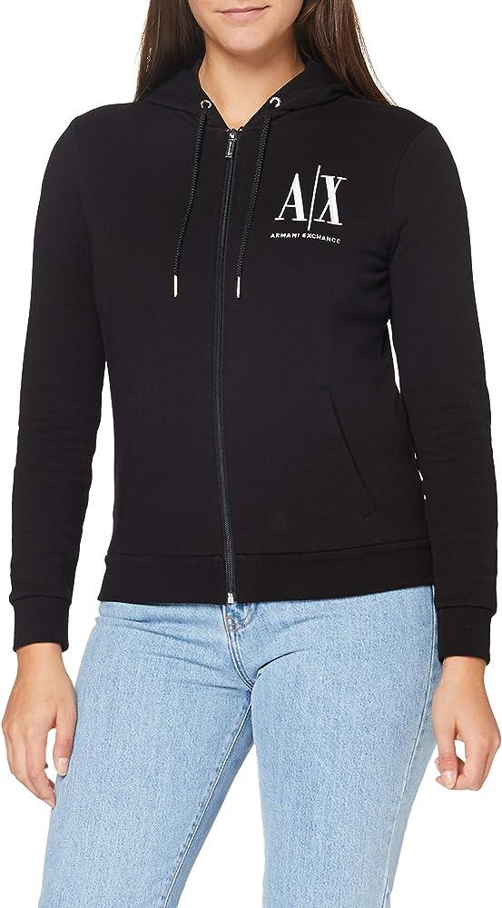 Armani exchange, icon project hoodie felpa con  cappuccio per donna in cotone con cerniera 8NYM22YJ68Z1200