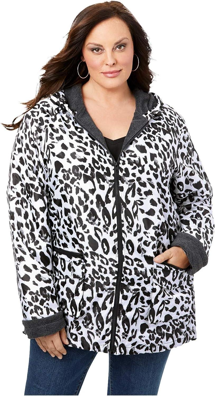 Roaman's Women's Plus Size Hooded Jacket With Fleece Lining Rain Water Repellent