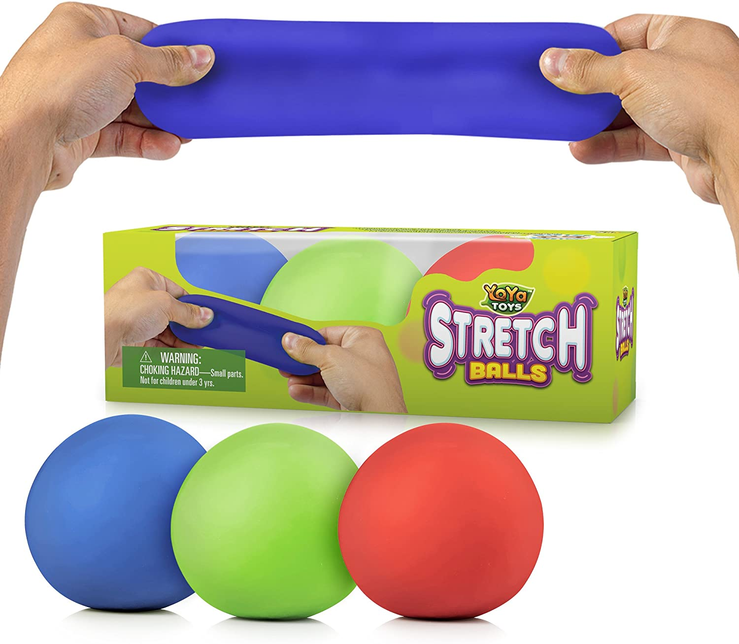 Pull Stretch and Squeeze Stress Challenge the lowest price Balls by YoYa Omaha Mall Pack - 3 E Toys