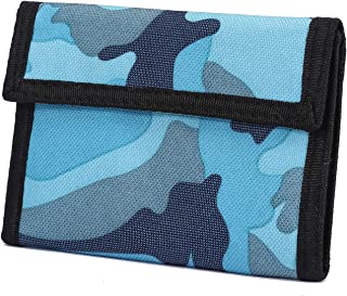 Trifold Canvas Outdoor Sports Wallet for Kids - Front Pocket Wallet with Zipper