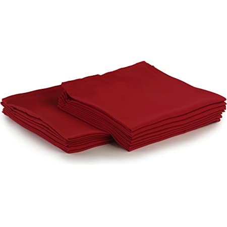 Amazon Com Yourtablecloth Cloth Dinner Napkins100 Spun Polyester With Hemmed Edges 20x 20 Set Of 12 Red Home Kitchen