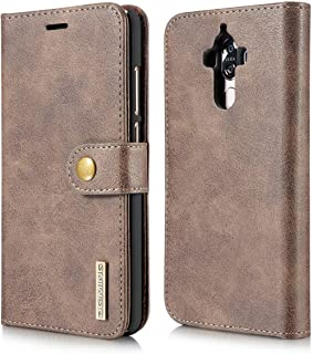 Genuine Leather Flip Case Magnet Buckle Credit Cards Holder Protection Anti Fall Shell Full Cover For Huawei Mate 9 -Grey
