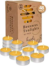 Hyoola Beeswax Tealight Candles in Aluminum Cup - 48 Pack - 100% Pure Natural Beeswax Candles