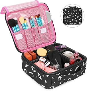 NiceEbag Travel Makeup Bag Cosmetic Bag for Women Girls Professional Train Case Nylon Cosmetic Storage Organizer with Removable Dividers for Cosmetics Make Up Tools,Large & Cute & DIY,Spot