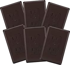 6-Pack Safety Innovations Self-Closing (1Screw) Standard Outlet Covers - an Alternative to Wall Socket Plugs for Child Proofing Outlets(Espresso)