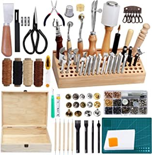 Jupean 458 Piecs Leather Kits, Leather Working Tools, Leathercraft Tools and Supplies with Instruction, Tool Holder, Leather Stamps Set, Prong Punch, Hole Hollow Punch for Leather Craft Working