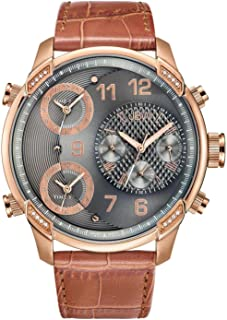 ساعة للرجال مرصعة بـ 16 ماسة من جيه بي دبليو، بسوار من الجلد - J6248LS