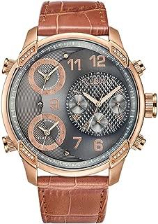 JBW Luxury Men's G4 16 Diamonds Multi-Time Zone Leather Watch