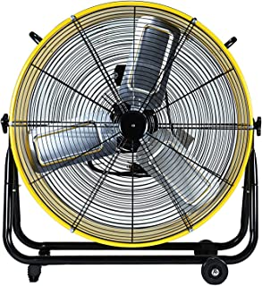 Simple Deluxe 24 Inch Heavy Duty Metal Industrial Drum Fan, 3 Speed Air Circulation for Warehouse, Greenhouse, Workshop, Patio, Factory and Basement - High Velocity - ETL Listed, Yellow