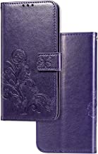 Case Compatible with iPhone 11 Pro MAX 6.5 inch (2019) Wallet Case with Card Solts Holder, Flower Floral Embossed Vegan Leather Flip Lanyard Wallet Case for iPhone 11-Purple