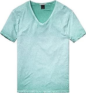 Scotch & Soda Mens V-Neck T-Shirt, Aqua