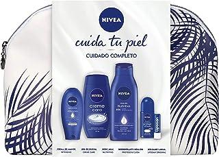 NIVEA Pack Cuidado Corporal Neceser Regalo Mujer, gel de ducha (250 ml), body milk (400 ml), crema de manos (100 ml), roll...