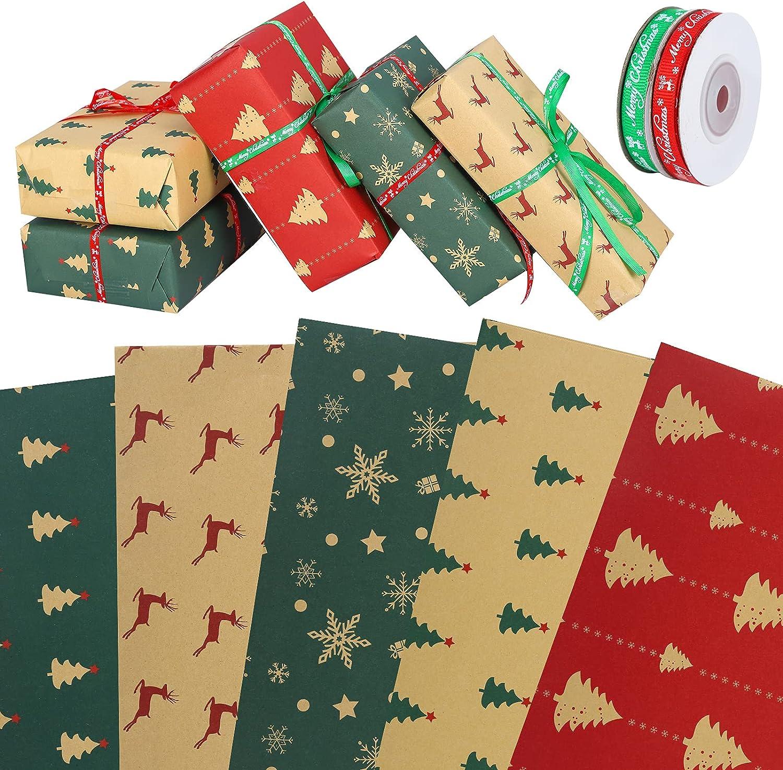 Papel De Regalo Kraft,Cinta de Navidad,10 hojas de papel de regalo con cinta de 10 m, rollo de papel de embalaje reciclable de doble cara para regalo de fiesta de cumpleaños, vacaciones de Navidad