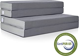 Best Choice Products 4in Thick Folding Portable Queen Mattress Topper w/High-Density Foam, Washable Cover, Gray