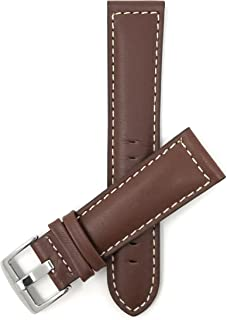 Mens Leather Watch Band Strap - White Stitch - 4 Colors - 18mm, 20mm, 22mm, 24mm, 26mm, 28mm, 30mm (Also in Extra Long XL)