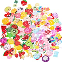 BBTO 100 Pieces Slime Charms Mixed Fruits and Sweets Slime Beads for DIY Crafts Accessories Scrapbooking