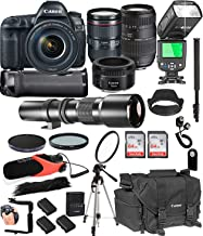 Canon EOS 5D Mark IV with 24-105mm f/4 L is II USM + 50mm 1.8 STM + Tamron 70-300mm + 500mm Telephoto + 128GB Memory + Pro Battery Bundle + TTL SpeedLight + Pro Filters,(26pc Bundle)