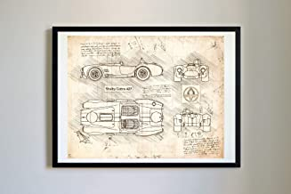 DolanPaperCo #353 Shelby Cobra 427 1973 Art Print, da Vinci Sketch – Unframed – Multiple Size/Color Options (Vintage, 17x22)