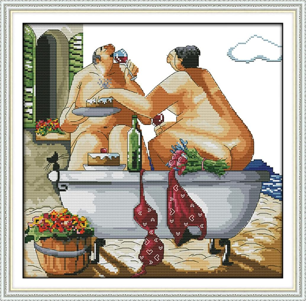 Joy Sunday 11CT Stamped Cross Stitch Kits Cross-Stitch Sewing Patterns Drink Together in Bathtub Embroidery Kit 18.5''x18''