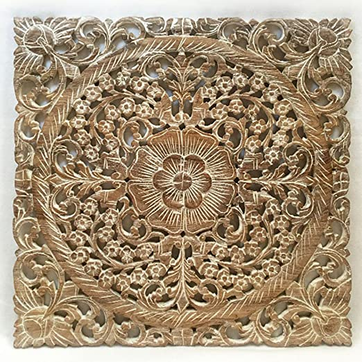 Amazon Com Asiana Home Decor Wall Art Oriental Carved Lotus Wood Plaque 24 X24 X0 5 White Wash Home Kitchen