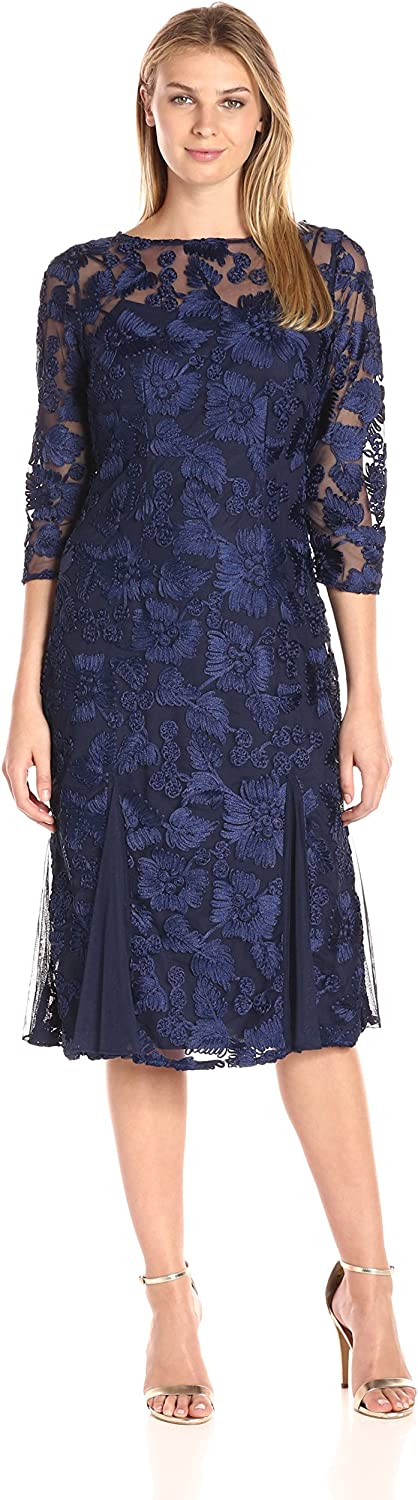 Alex Evenings Womens TLength Embroidered Dress with Illusion Sleeves