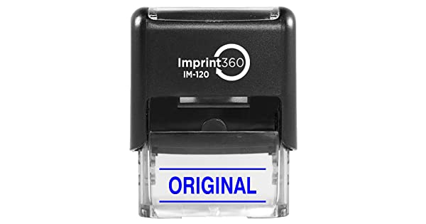 Heavy Duty Commerical Self-Inking Rubber Stamp Supply360 AS-IMP1129B Original w//Upper and Lower Bars 9//16 x 1-1//2 Impression Blue Ink