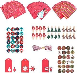 CATSRE 24 مجموعات عيد الميلاد لتقوم بها بنفسك هدية صندوق ملفات تعريف الارتباط أكياس الحلوى 1-24 التقويم القدوم ملصقات أكيا...